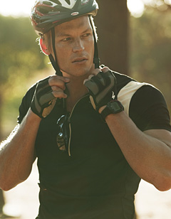 Man preparing to cycle
